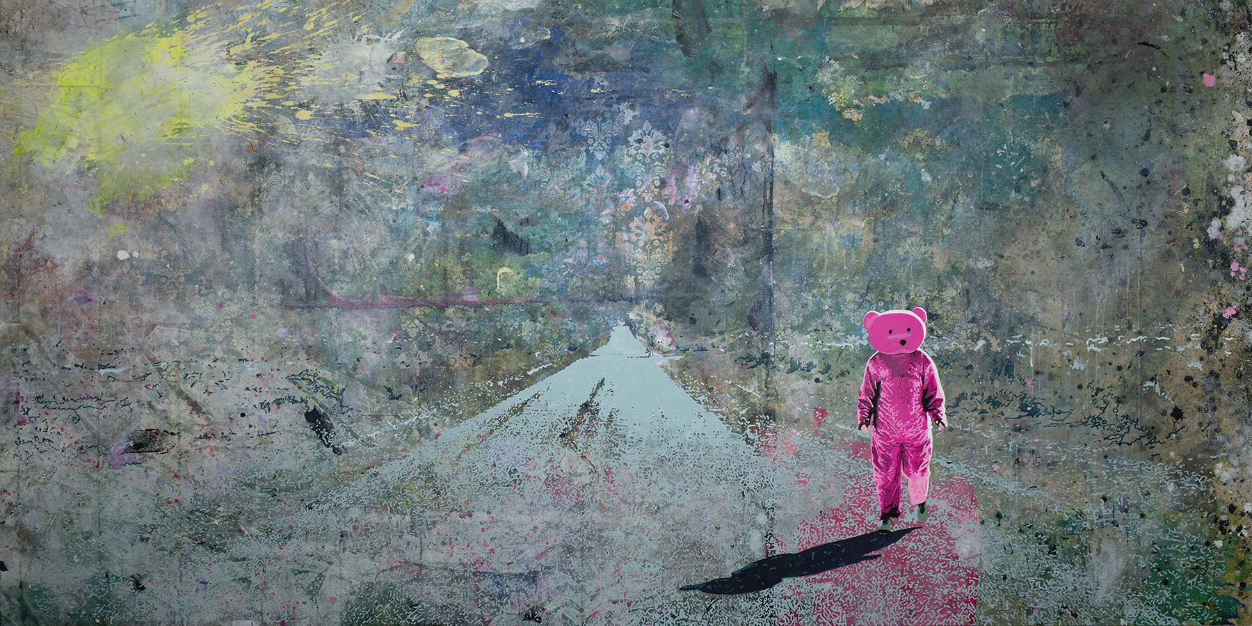 Pink Bear Fine Art Painting - Me & My Shadow