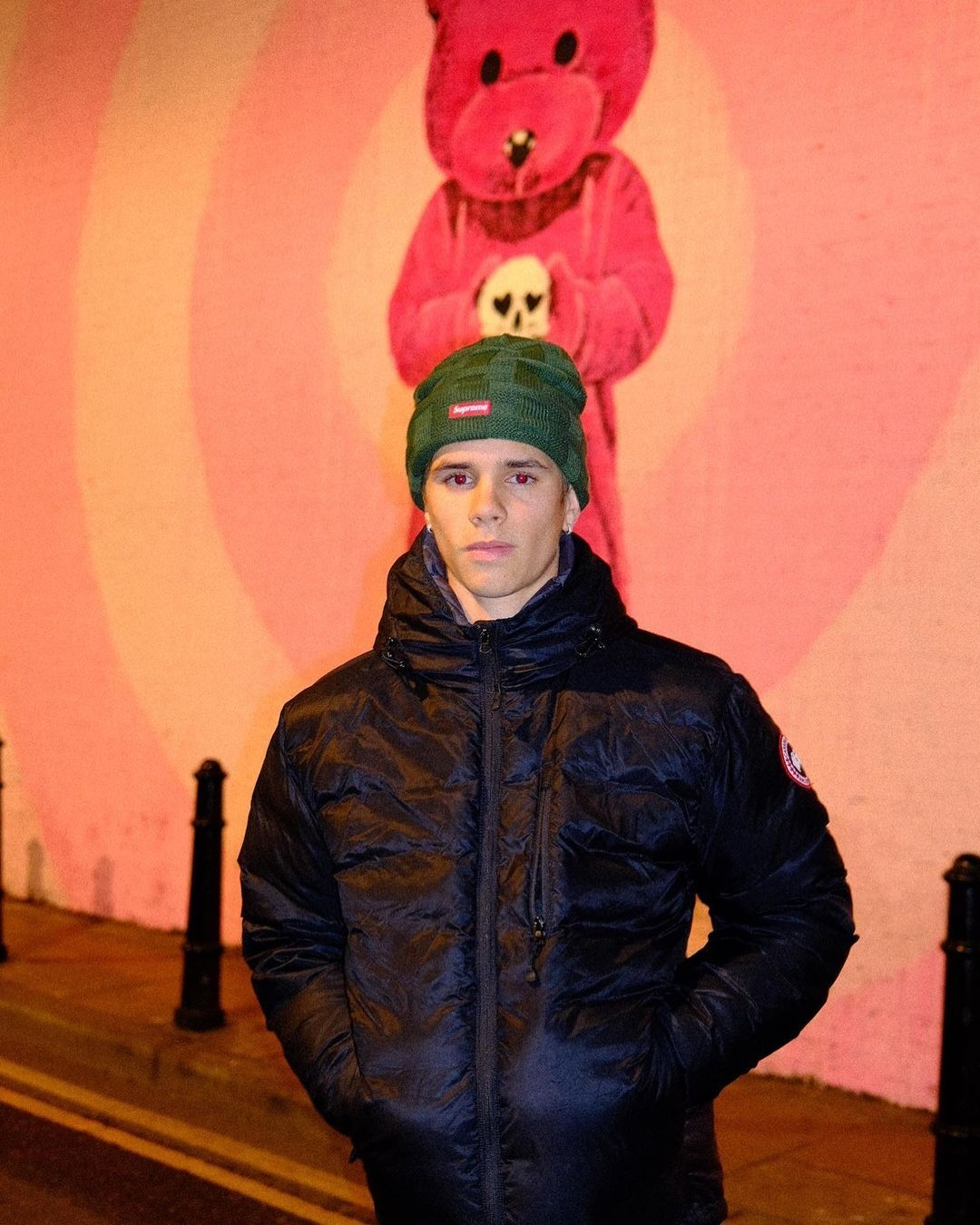 Romeo Beckham with LUAP's Pink Bear mural Love Life