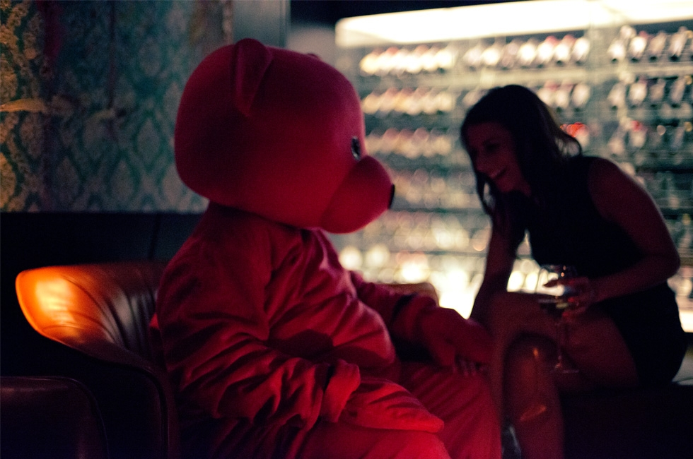 The Pink Bear chatting up the ladies at DSTRKT