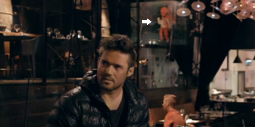 Spencer Matthews looking miffed next to my pink bear. Made in Chelsea