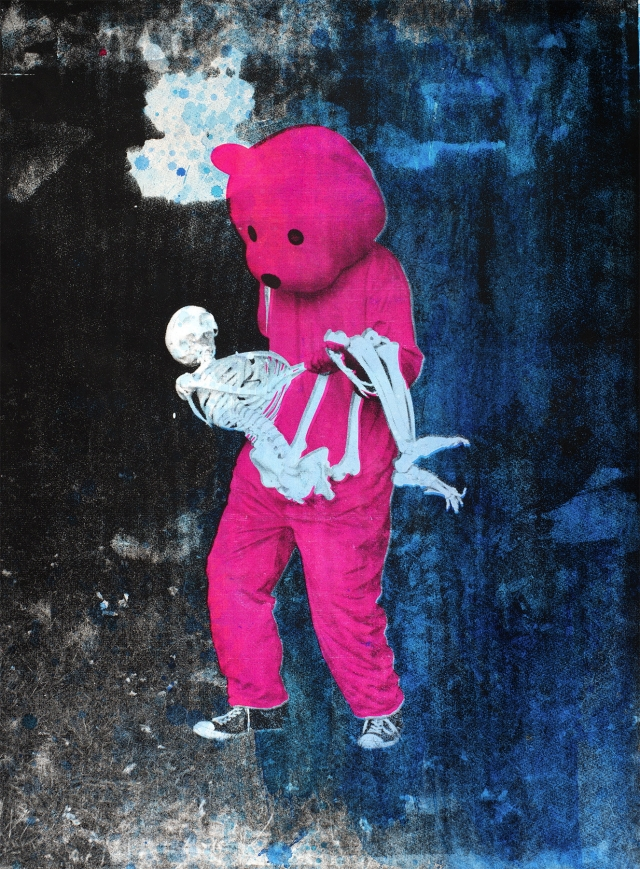 Paul Robinson's Pink Bear Limited edition Screen Print featuring a skeleteton - Luap Studios - The work was selected by Cara Delevingne for #art4animals